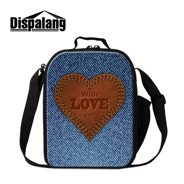 Dispalang cute love printed lunch cooler bags for girls women fashion denim lunch box for work personalized custom food lunchbox