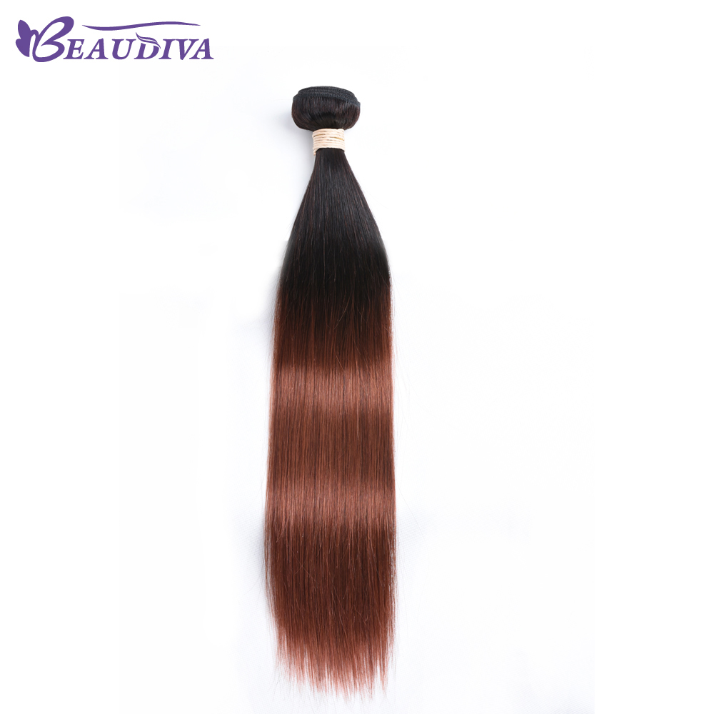 BEAUDIVA Straight T1B/33 Ombre Color Human Hair No Shedding Colored Non-Remy Hair Weave 10-24inch