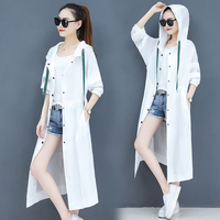 Hooded Sunscreen Summer Coat Women Casual Trench Coat For Women Leisure Casaco Feminino Windbreaker Female Overcoat Casacos