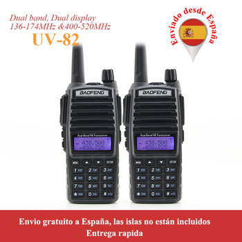 Shipping from Russia 2 pcs/lot walkie talkie BaoFeng UV-82 Dual-Band 136-174/400-520 MHz FM Ham Two way Radio Transceiver uv82