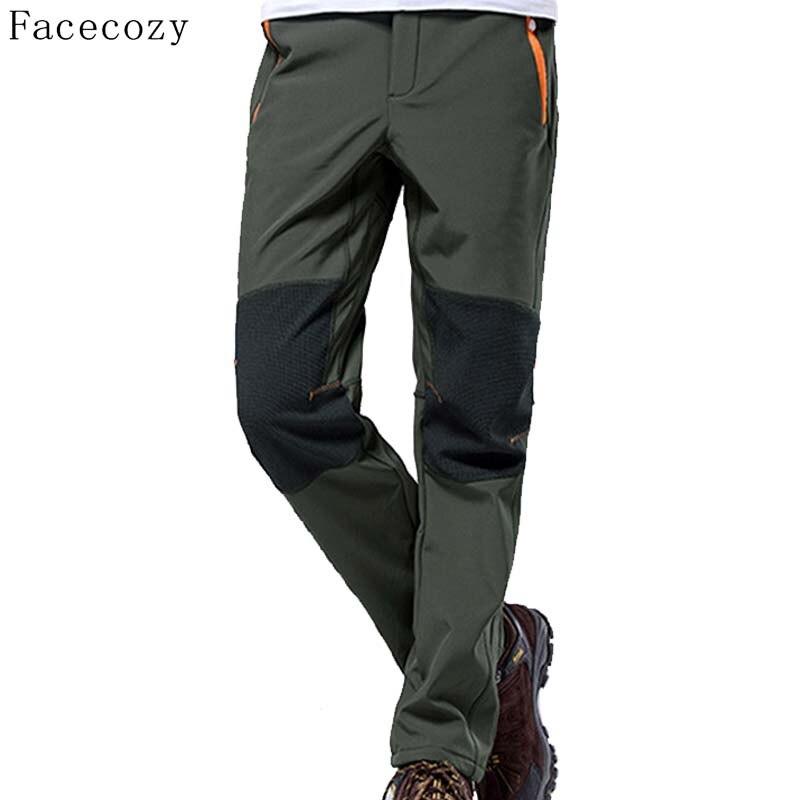 Prix pour Facecozy Hiver Hommes En Plein Air Chaleur Polaire Chasse Softshell Pantalon Mâle Patchwork Respirant Coupe-Vent Camping Pantalon