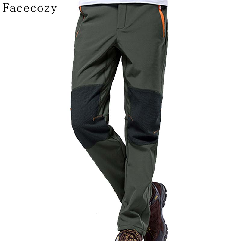 ФОТО Facecozy Winter Men Outdoor Warmth Fleece Hunting Softshell Pants Male Patchwork Breathable Windproof Camping Trousers