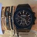 Anil Arjandas Men Bracelet,24K Gold Plated Micro Pave Black CZ Beads Briading Macrame Bracelets Bangles Pulseira Feminina