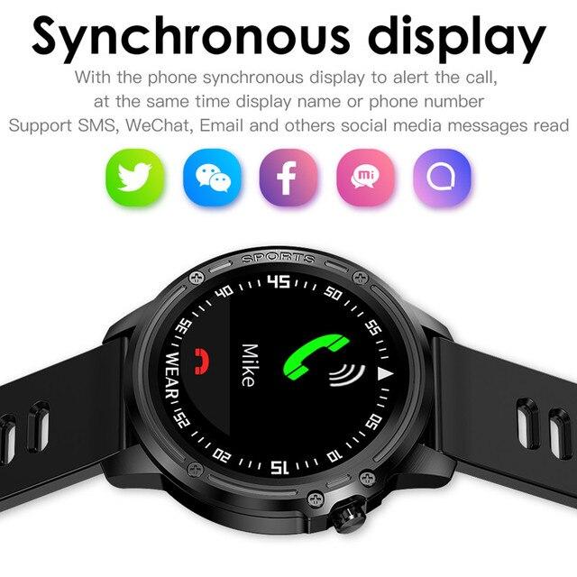 Reloj inteligente L8 IP68 para Hombre, Reloj inteligente resistente al agua con ECG presión arterial mediante PPG, relojes deportivos para fitness 4