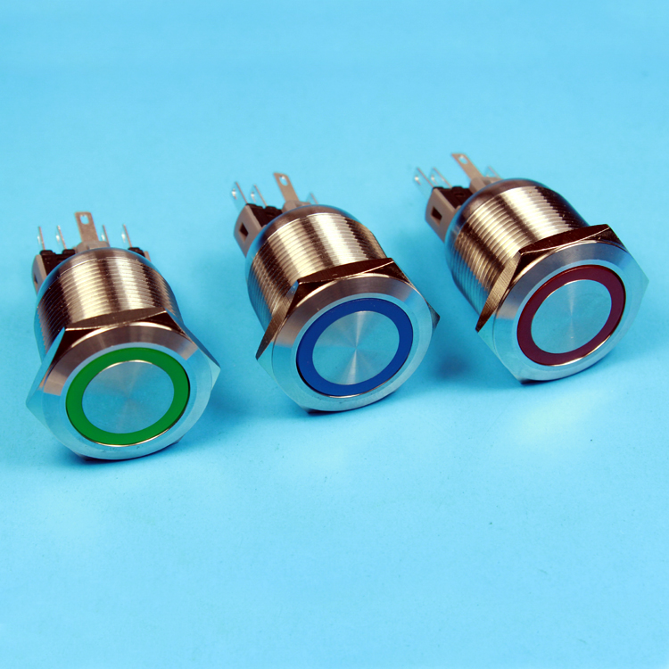 momentary Stainless Steel anti vandal 25mm ring led illuminated push button switch 12v red blue green