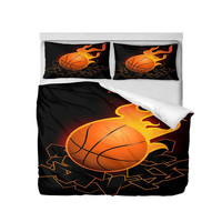 Bedding Set Fashion Cool Fire Basketball Football 3D Printing Duvet Covers Queen Double Size Bedroom Decoration Bed Set 3 Pcs