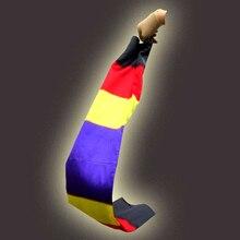 Zmień kolorowy szalik magiczne sztuczki czarny na tęczowy jedwabny Streame magiczne sztuczki magia rekwizyty zabawna scena bliska Magie zabawki