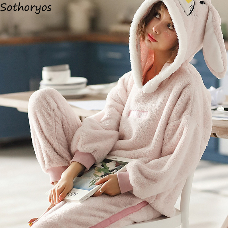Pajama     Sets   Women Thicker Coral Fleece Hooded Cartoon Kawaii Warm   Pajamas   Womens Winter Two Pieces Homewear Soft   Set   Korean