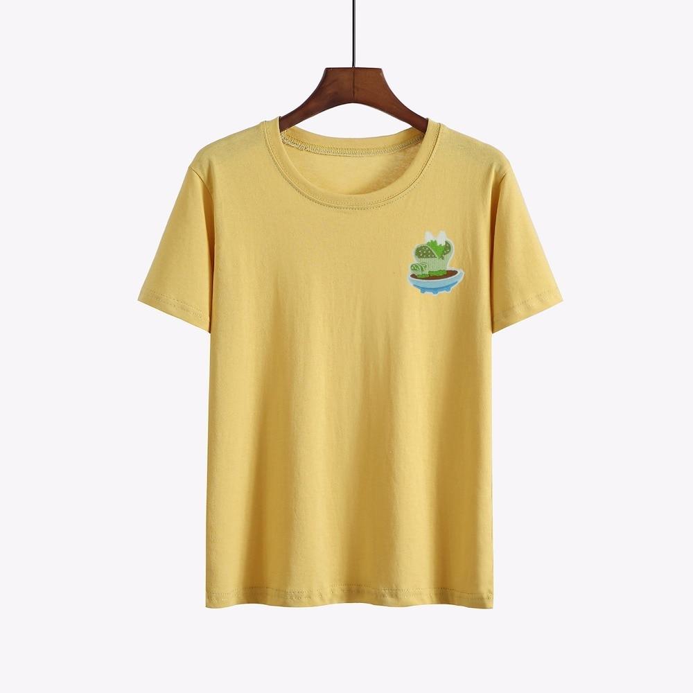 Summer Fashion embroidered harajuku T Shirt Women Basic T-shirts kawaii Female Casual Tops Short Sleeve fun T-shirt Wome