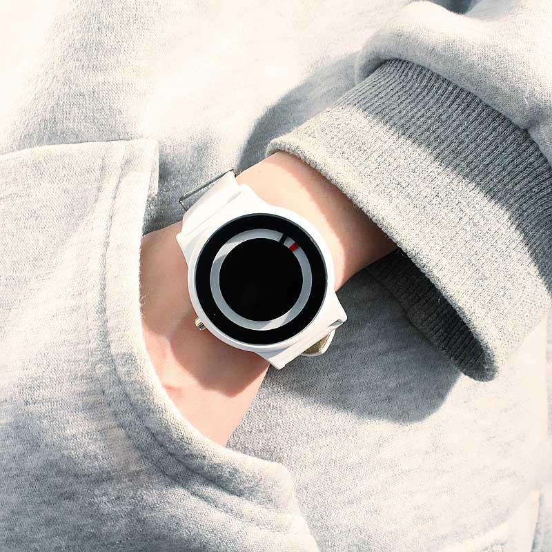 Nouveauté tendance sans pointeur Concept montre Simple marque créative femme hommes montres Relogio Feminino