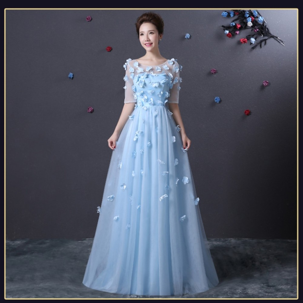 Robe De Soiree Light Blue Prom Dress Half Sleeve With Flowers Cheap ...