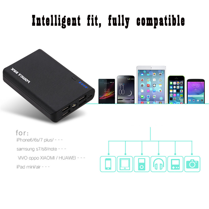 2.1A 4 USB Power Bank Case 4×18650 Battery Charger DIY Box Case Kit for Phone New drop shipping 1011