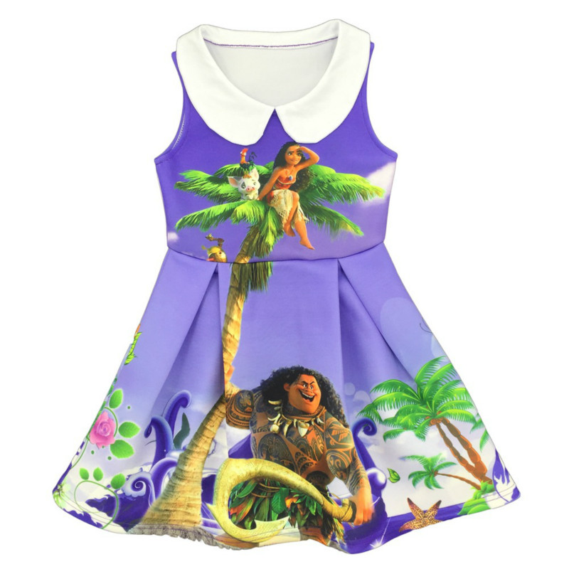 2017 Moana New Cartoon Trolls Summer Baby Girl Dress Kid Clothing Girls Princess Dresses Children Clothes Child Casual Costume free shipping new red hot chinese style costume baby kid child girl cheongsam dress qipao ball gown princess girl veil dress