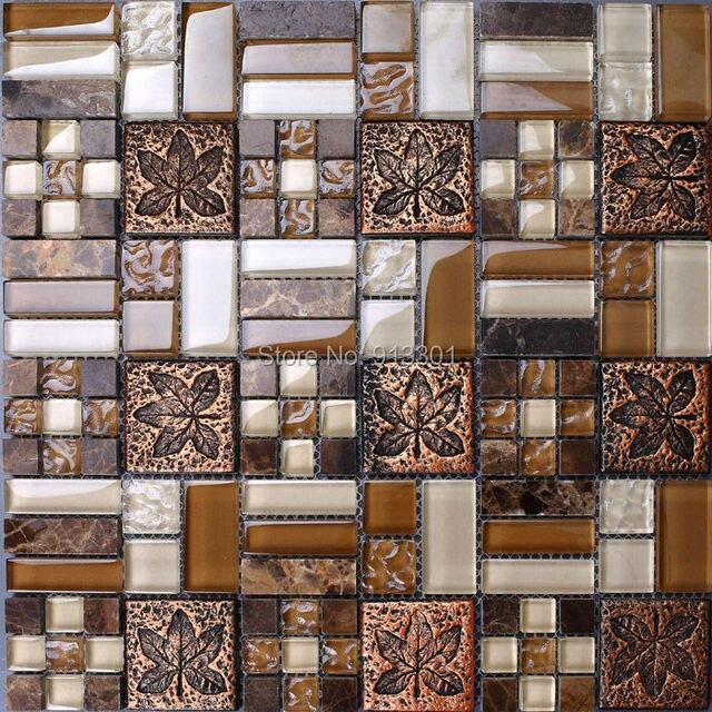 Piedra de cristal azulejos de mosaico backsplash de la cocina ...