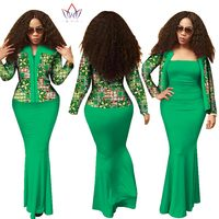 African 2 Pieces Set for Women 2018 New Style Dashiki Crop Top Long Dress Suits Plus Size Traditional Clothing WY1313