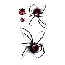 1 Sheet Man Woman Sexy Temporary Tattoo Stickers Waterproof Fake Spider Ladybug Body Art Flash Tattoos Sticker 669(China)