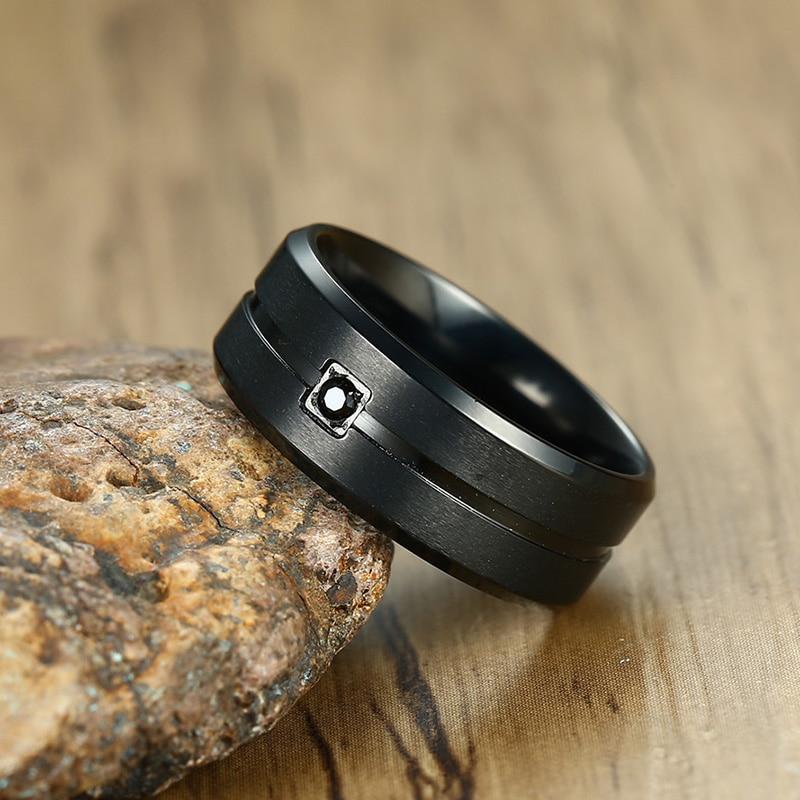Men's Black Cubic Zirconia Ring