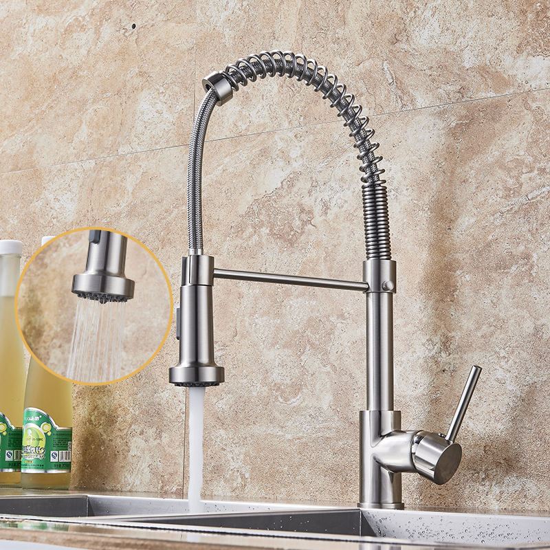 Kitchen Faucet Nickel Brushed Stainless Steel Kitchen Sink Faucet 360 Degree Rotation Pull Out Mixer Tap цена и фото