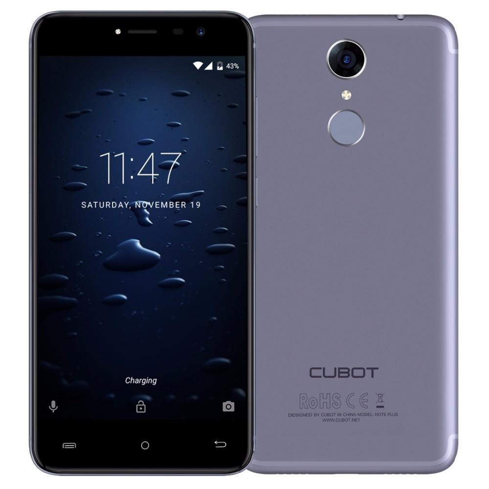 Original Cubot Note Plus Fingerprint 5.2 FHD MT6737T Quad Core Smartphone 3GB RAM 32GB ROM 16MP Android 7.0 Celular 4G LTE
