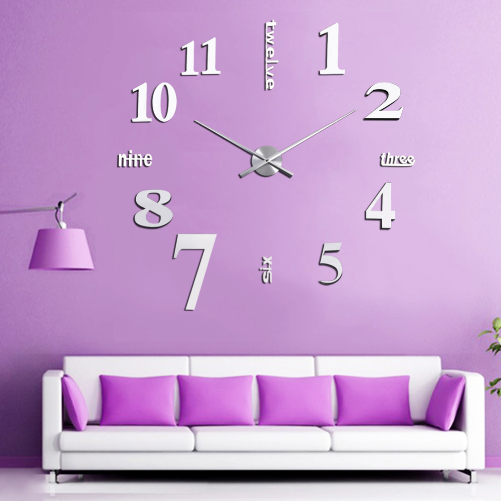 Big watch wall clock new fashion diy digital large wall clock big watch home decor amipublicfo Image collections