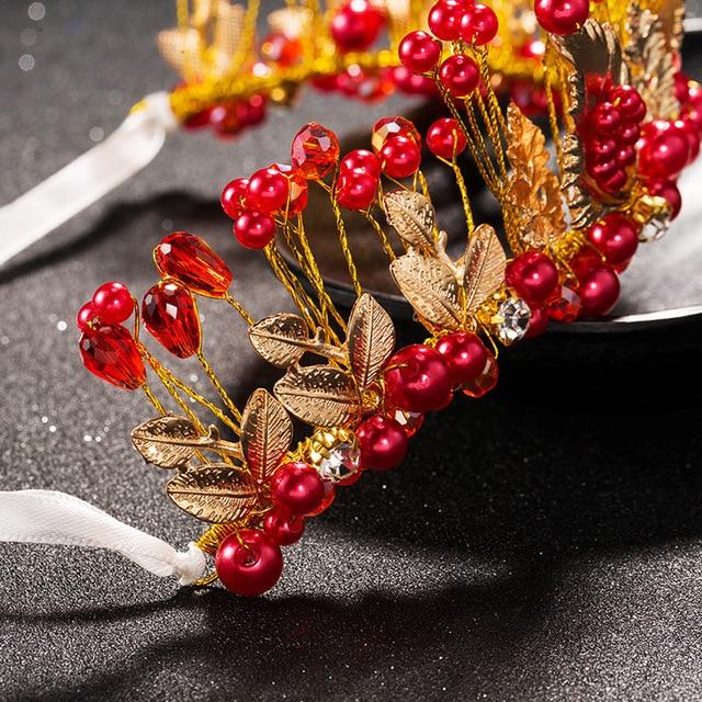 TUANMING Gold Pink White Hair Jewelry Flower Women Headbands Handmade Peal Wedding Tiaras Bridal Hair Accessories Crown Hairwear