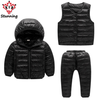 100 White Duck Down Boys Girls Clothing Sets 2017 Winter Warm Boys Down Coats Vest Pants