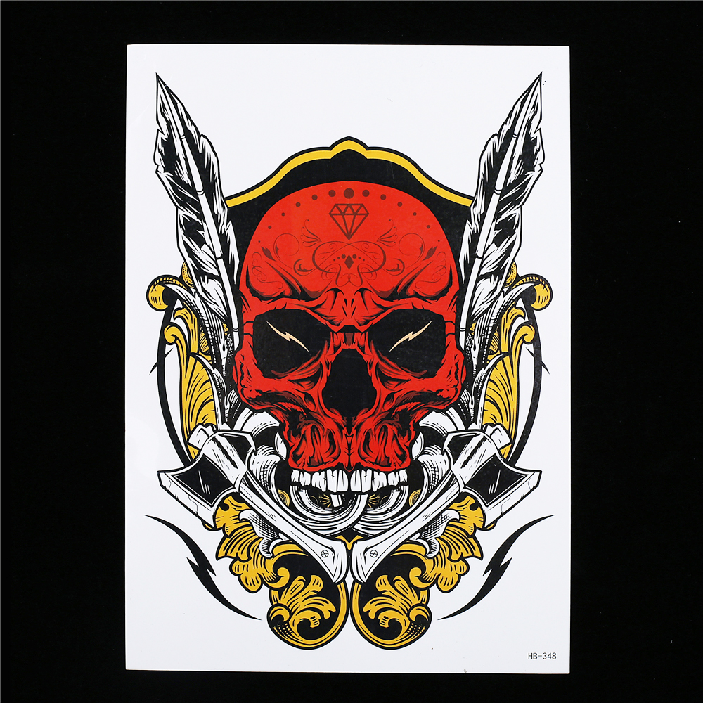 8 Pieces Skull Pattern Design Tattoo Sticker Hand Bone Feather Decal Temporary Woman Man Back Body Art Tattoo Sticker Cool HB#24