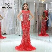 Lujo 2017 de La Sirena de Baile vestidos Largos Cristales largo Moldeado vestidos de Noche Rojo De Tulle Vestido de Fiesta de graduación Por Encargo