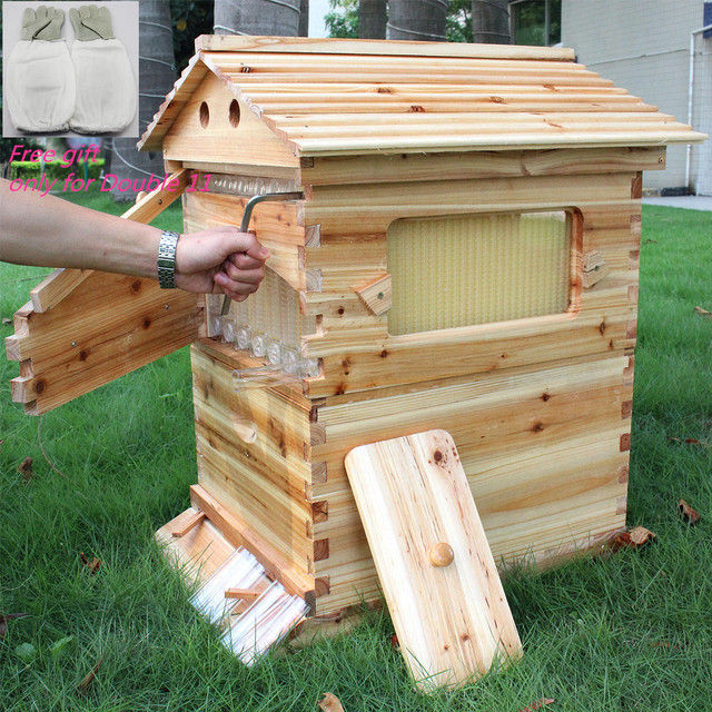 Wooden Beehive Box With 7 Beehive Frames Beekeeping Tools Honey Self