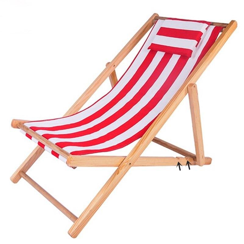 Mobilier d'extérieur Chaise de plage Portable pliante Chaise longue en bois 5.5 KG hauteur réglable Chaise de Camping siège Chaise d'extérieur