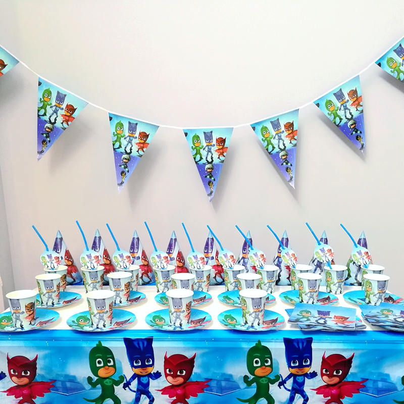 91pcs Mask Tableware sets Boy Kids Birthday Party Decoration Party Supplies Table cloth Cups Paper plate Napkin Flag