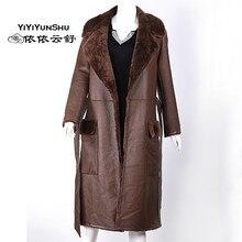 Yiyyunshu Мериносовая овечья шерсть двустороннее меховое пальто женское зимнее длинное толстое овечье меховое пальто из натуральной кожи меховая куртка женская