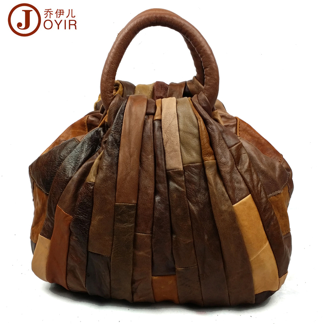 Hot Luxury Vintage Patchwork 100 Genuine Leather Tote Bag Women Shell Bags Top Handle