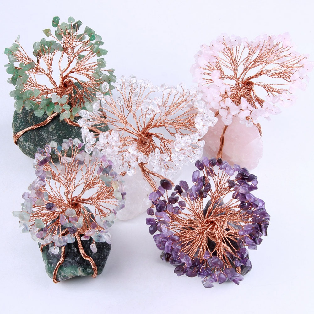 Natural Amethyst Rose Quartz Crystal Rocks Aventurine Stone Beads Tree of Life with Copper Wrapped Home Decoration Figurine 1pc