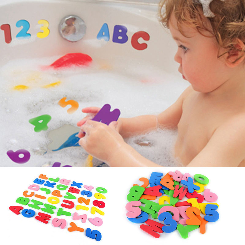 MINOCOOL 36x Foam Letters Numbers toy Educational Bathroom Bathtub Toys for Kids Baby Wall Stickers 26 Letters + 10 Numbers ...