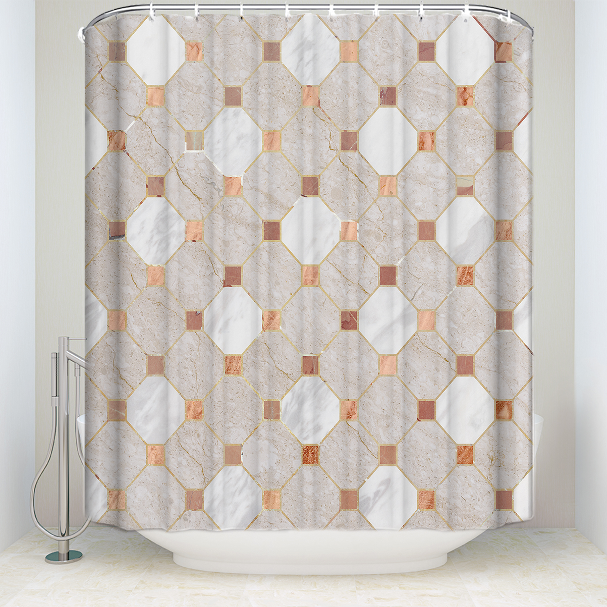 Bathroom Products Buy Cheap New Waterproof Shower Curtain With 12 Hooks Mosaic Printed Bathroom Polyester Decorative Shower Curtain Hooks#g36 Home & Garden