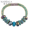 MANBALA 2016 New Arrival European Charms Female Bangles Royal Blue Beads Bracelet For Women Attractive Bracelets W03AE