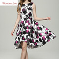 2017 New Arrival Spring Women's Clothing O-Neck Sleeveless Fashion Brief Brand Elegant Print Slim Sexy A-Line Casual Dress S-L