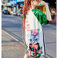 New women's European cartoon colorful print long tees Young ladies fancy sequins Dresses female girls maxi blousa Dress NZ66