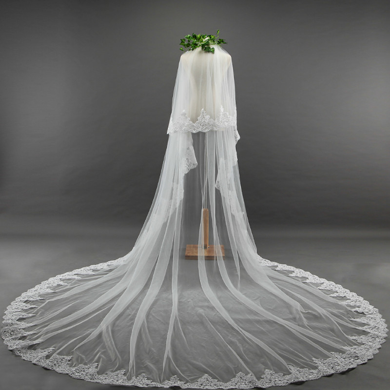 2018 Real Photos High Quality 2 Tiers Blusher Cover Face Cathedral Shining Sequined Lace Wedding Veil