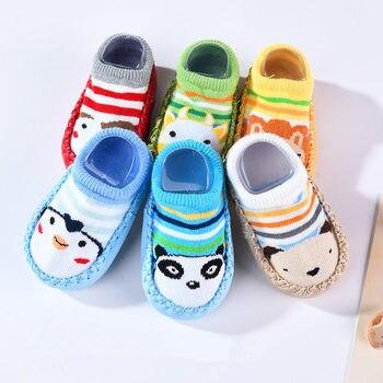 Baby Shoes Socks Children Infant Cartoon Socks Baby Gift Kids Indoor Floor Socks Leather Sole Non-Slip Thick Towel Socks 1