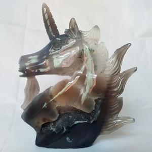 Image 4 - UNA pietra Naturale agata intaglio unicorno teschio di cristallo cristalli geode cluster creativo scultura decorazione della casa nobile e puro