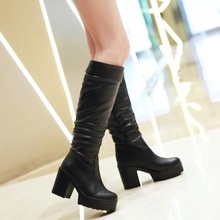 New brand fashion Knee-high women Boots Women's thick high heel Platform Boots Winter western Boots Shoes woman large size 34-43