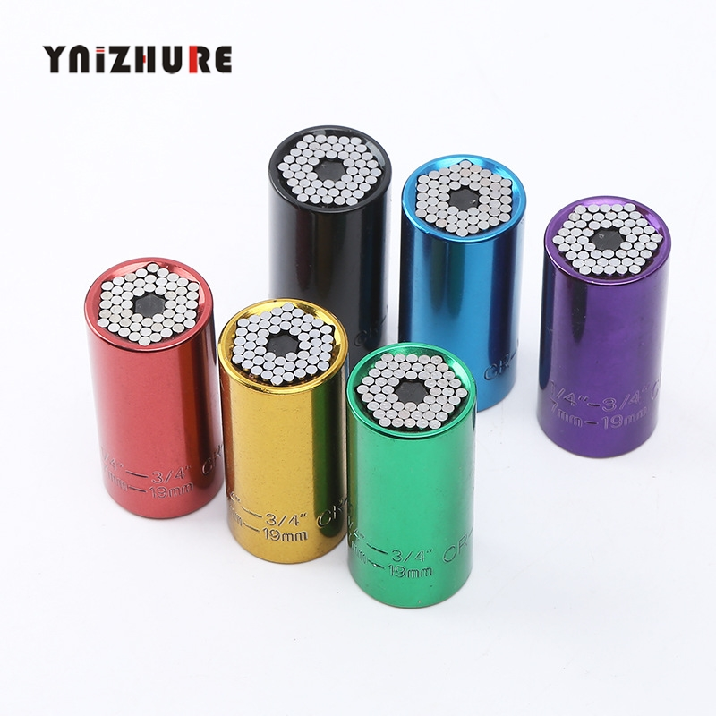 Universal colors Torque Wrench Head Set Socket Sleeve 7-19mm Power Drill Ratchet Bushing Spanner Magic Key Grip Hand ToolsUniversal colors Torque Wrench Head Set Socket Sleeve 7-19mm Power Drill Ratchet Bushing Spanner Magic Key Grip Hand Tools