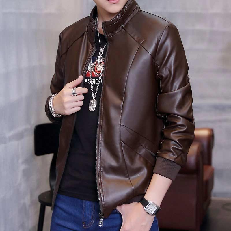 Mens Jackets 2017 Top Regular Brown Casual Mandarin Collar Good Quality Winter Autumn New Men's Pu Solid Men Leather Jacket