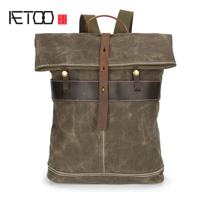 AETOO Oil wax canvas Men's Canvas Shoulder Bag Retro Batik Waterproof Outdoors Travel Backpack Men's Bag