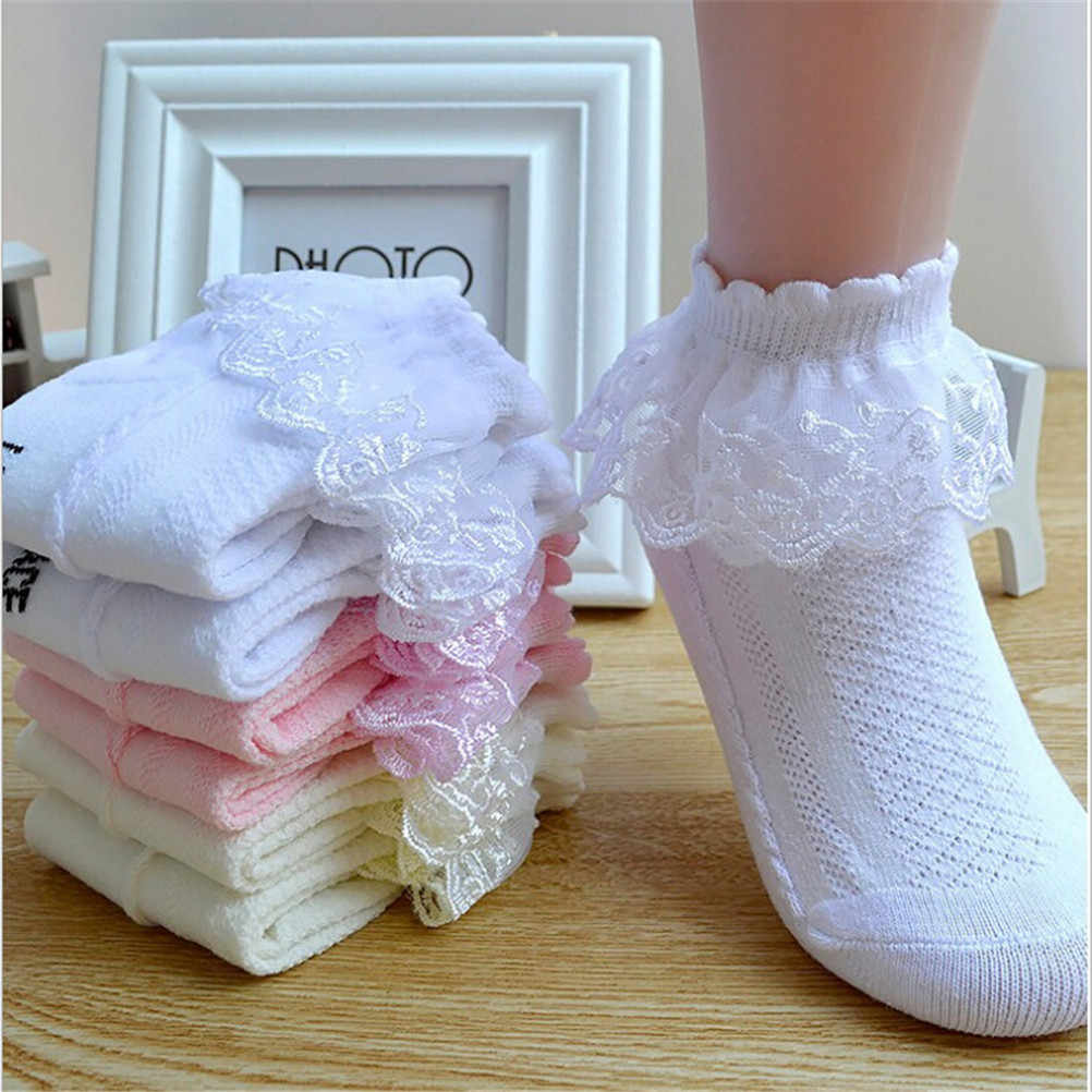 Baby Girls Kids Toddler White Pink Yellow Breathable Cotton Lace Ruffle Princess Mesh Socks Children's Ankle Short Sock