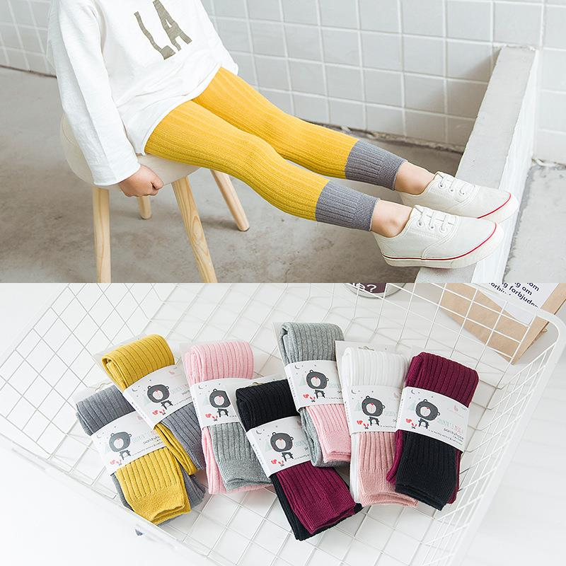 Girl's Knit Cotton Stretch School Uniform Antistatic Legging 1 Pack Unisex Pure Color Stitching Leggings