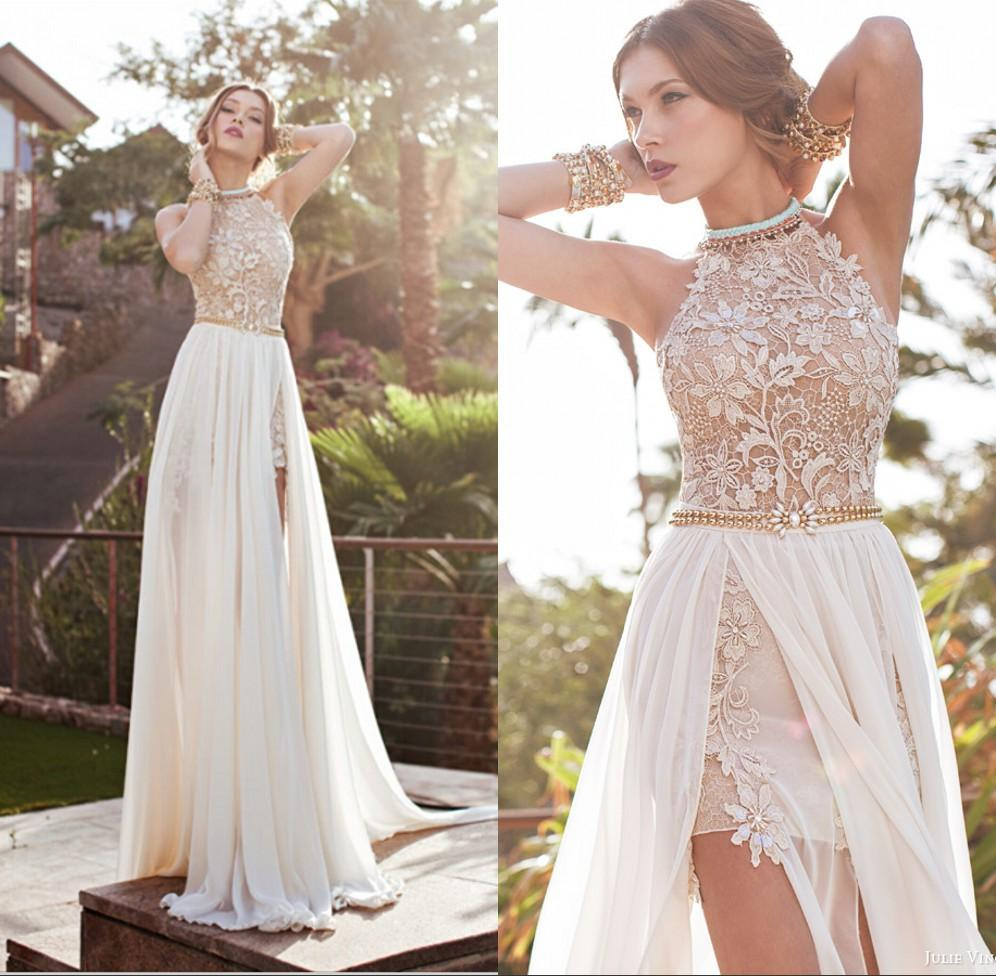 Lace Halter Wedding Gown: 2016 Summer Lace Empire Wedding Dresses Court Train