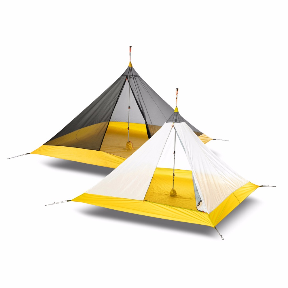 Camping intérieur tente ultralégère 3-4 personnes extérieur 20D Nylon côtés silicone revêtement pyramide grande tente Camping 4 saison